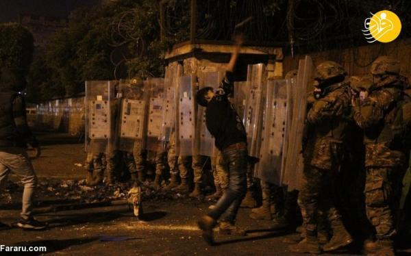 (تصاویر) آشوب شبانه در لبنان در اعتراض به شرایط مالی
