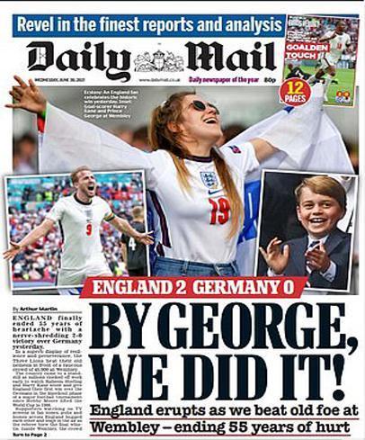 ذوق زدگی روزنامه های انگلیسی از برد مقابل آلمان(تصاویر)